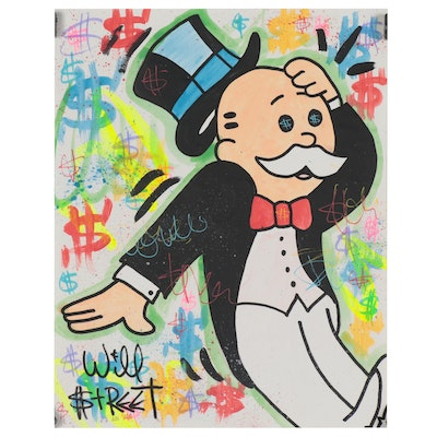 Will $treet Mixed Media Painting of Mr. Monopoly, 2020