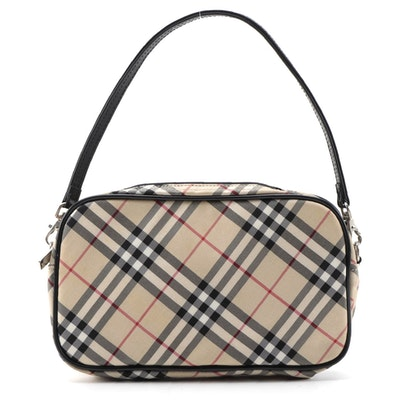 "Burberry Blue Label Handbag in ""Nova Check"" Canvas with Black Leather Trim"