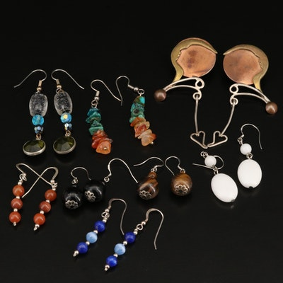 Dangle Earrings with Sterling, Agate and Tiger's Eye