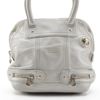 See By Chloé Tomo Small Two-Way Bowler Bag in Gray Grained Leather