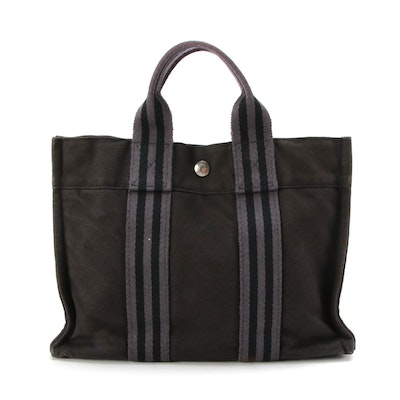 Hermès Fourre Tout PM Bag in Black and Gray Canvas
