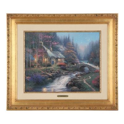 """Thomas Kinkade Embellished Offset Lithograph """"Twilight Cottage,"""" 1997"""