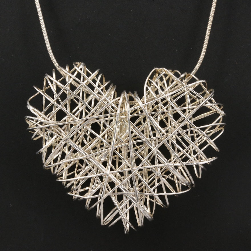 Sterling Openwork Wire Wrap Heart Necklace