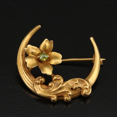 Art Nouveau 10K Garnet Doublet Flower and Crescent Brooch
