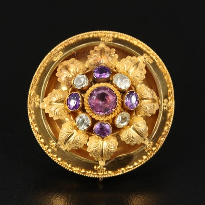 Early Victorian 14K Amethyst and Spinel Foliate Mourning Brooch with Watch Hook