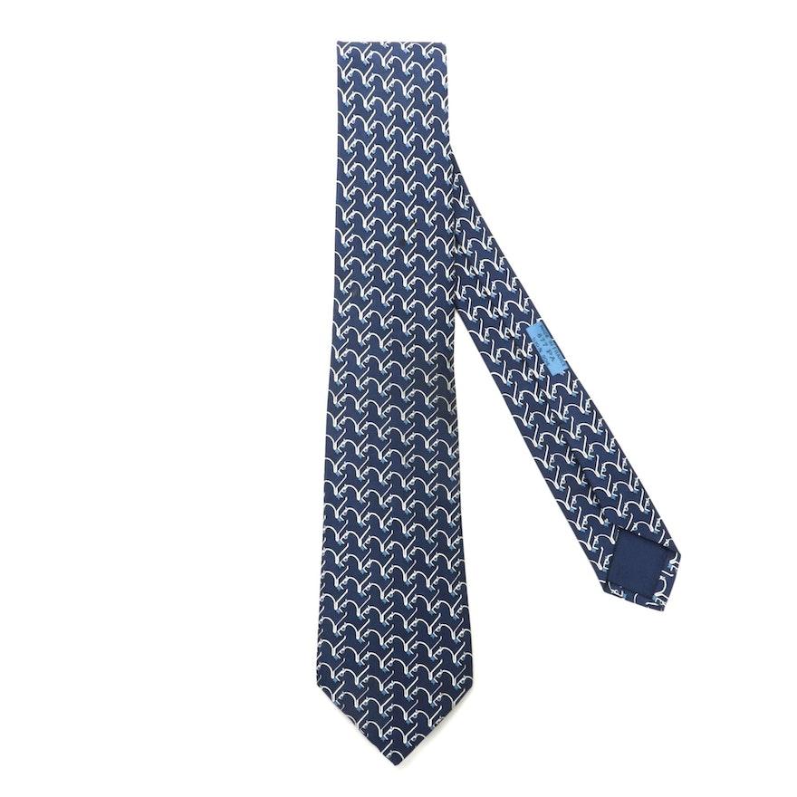 Hermès 877 PA Hand-Stitched Silk Twill Necktie