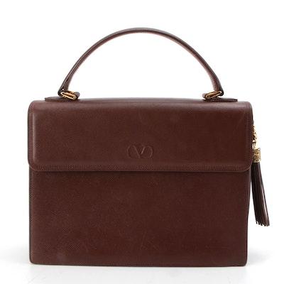Valentino Garavani Embossed V Top Handle Satchel in Mahogany Brown Leather