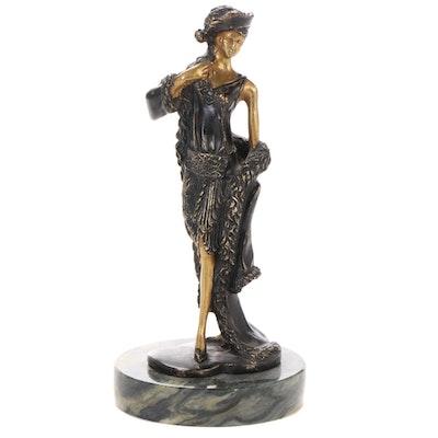 Brass Sculpture after Louis Icart of Female Figure