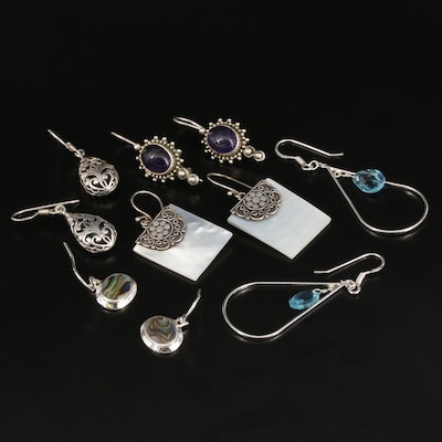 Sterling Earrings Selection Featuring Abalone and Gemstone Accents