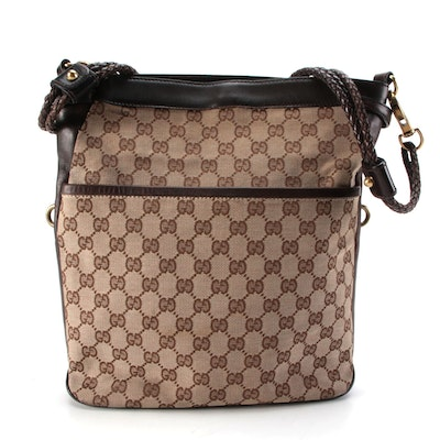Gucci Crossbody with Braided Strap in GG Canvas and Brown Leather