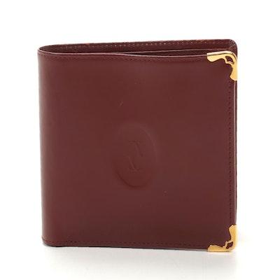 Cartier Bifold Wallet in Burgundy Leather