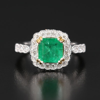 14K 1.75 CT Emerald and Diamond Ring with Scalloped Edges and Milgrain Details