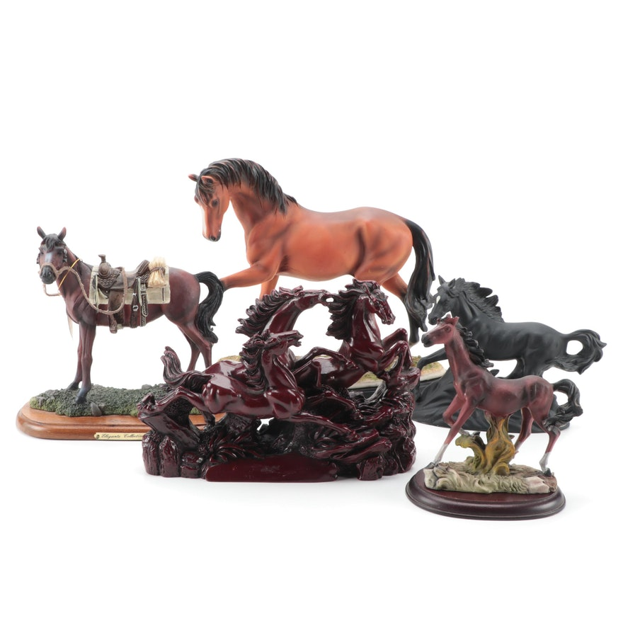 Resin and Ceramic Horse Figurines