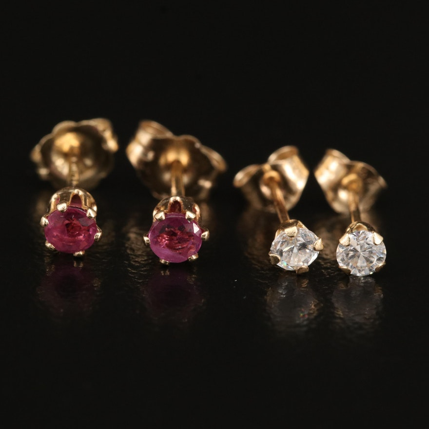 14K Cubic Zirconia and Ruby Stud Earrings