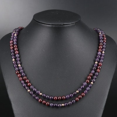 Amethyst and Garnet Double Strand Bead Necklace with Sterling Accents and Clasp