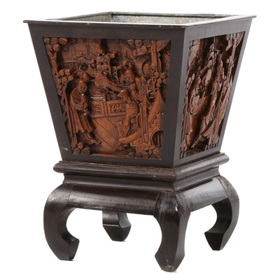 Chinese Carved Hardwood Jardinière-on-Stand