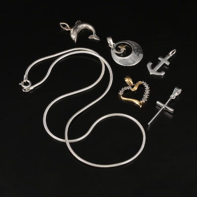 Sterling Pendant Selection with Diamond Accents and Snake Chain