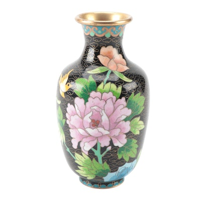 Chinese Cloisonné Vase with Peony and Plum Blossom Motif