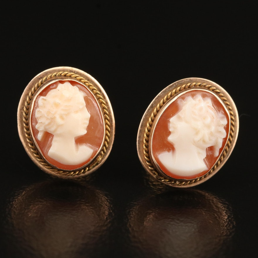 10K Cameo Stud Earrings