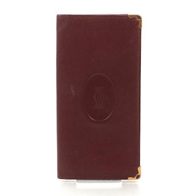 Cartier Must du Cartier Long Wallet in Burgundy Leather