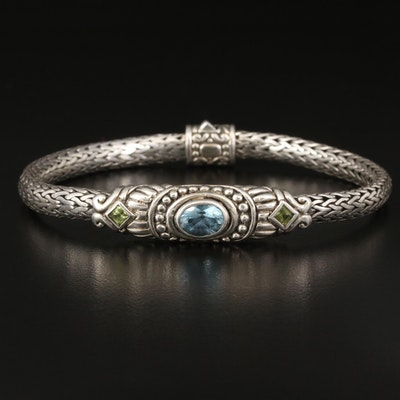 Indonesian Sterling Topaz and Peridot Bracelet
