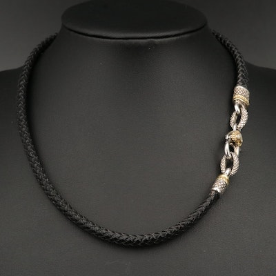 Judith Ripka Sterling Braided Leather Necklace with 18K and Diamond Accents