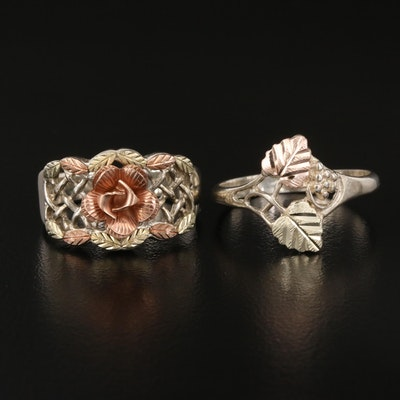 Coleman Black Hills Gold Sterling Rings Including 12K Accents