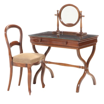 Grange France Walnut Curule Dressing Table with Chair, Mid to Late 20th Century