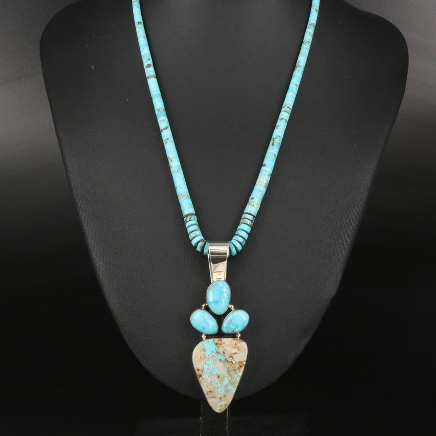 Signed Southwestern Turquoise Pendant on Graduated Bead Necklace