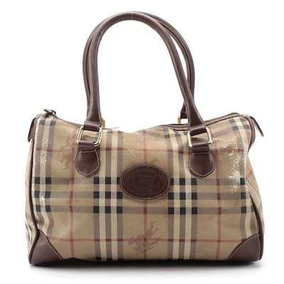 """Burberrys Boston Bag in """"Haymarket Check"""" Coated Canvas and Brown Leather Trim"""