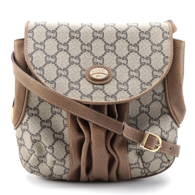 Gucci Plus Pleated Leather Crossbody Bag in GG Coated Canvas