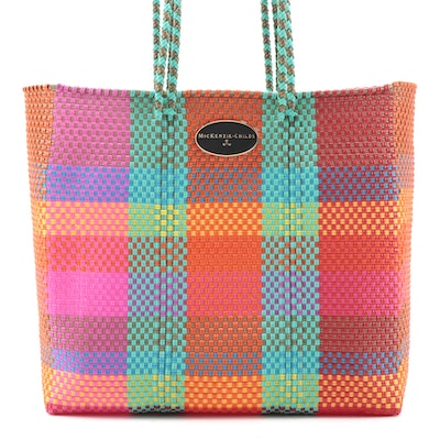 MacKenzie-Childs Courtyard Woven Tote in Neon Tartan Plaid
