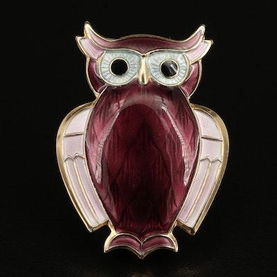 Norwegian David Anderson Sterling Guilloché Enamel Owl Brooch