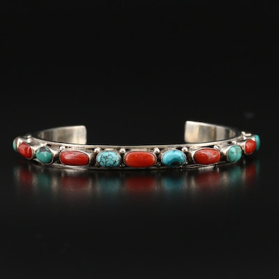 Southwestern Style Sterling Coral and Turquoise Cuff