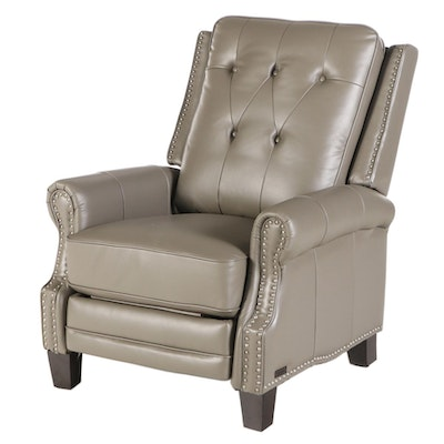 "Abbyson ""Ridgewood"" Grey Leather Pushback Recliner with Brushed Nickel Nailheads"
