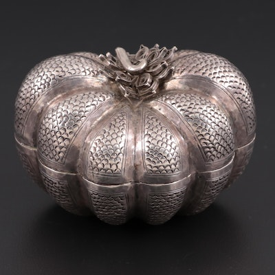 Cambodian 800 Silver Chased Pumpkin-Shaped Betel Box, Early 20th Century