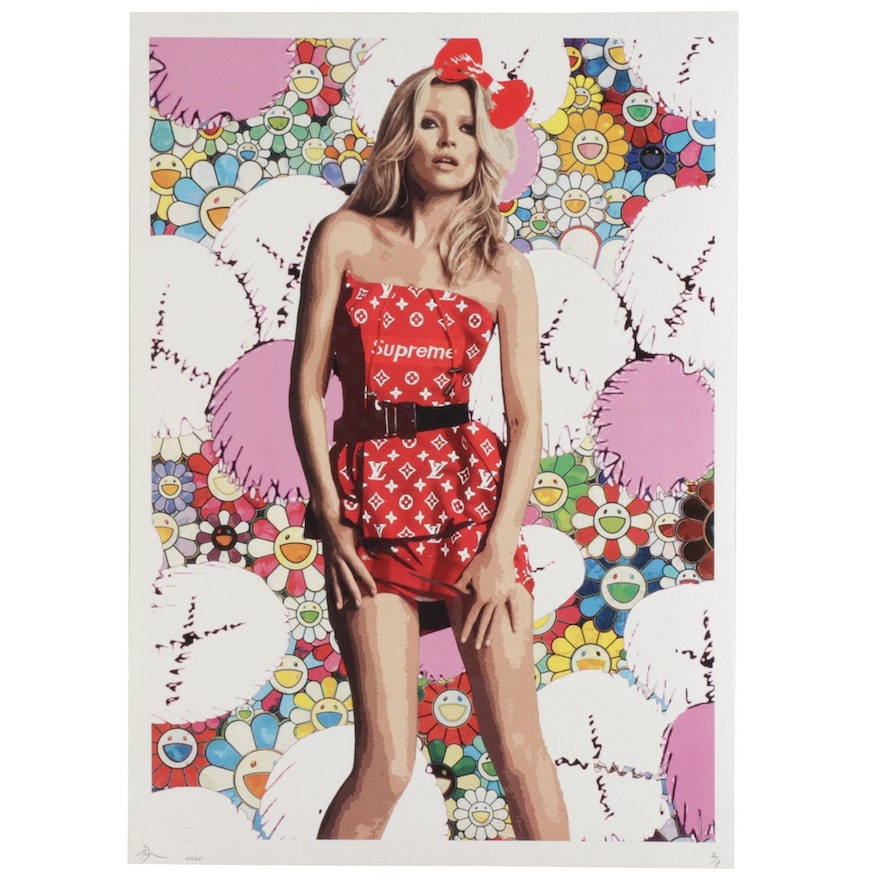 Death NYC Pop Art Graphic Print of Kate Moss with Flowers, 2020