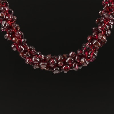 Endless Garnet Beaded Necklace