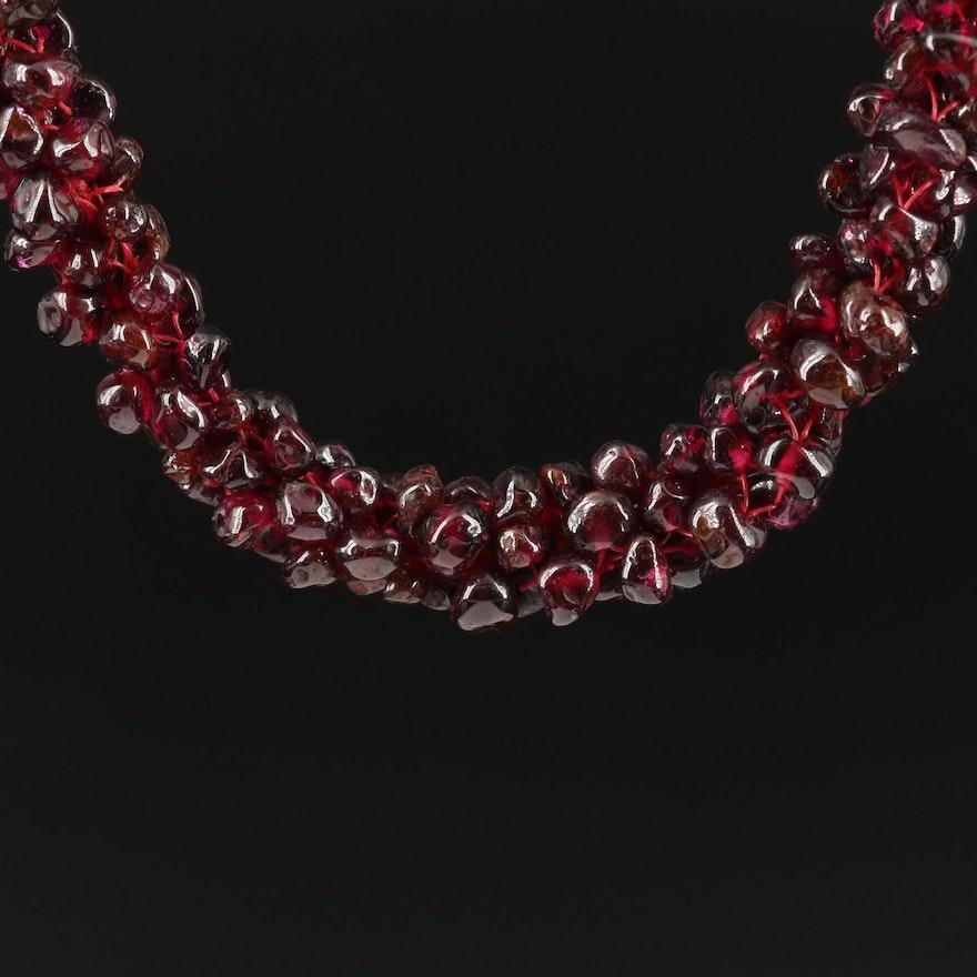 Endless Garnet Beaded Necklace