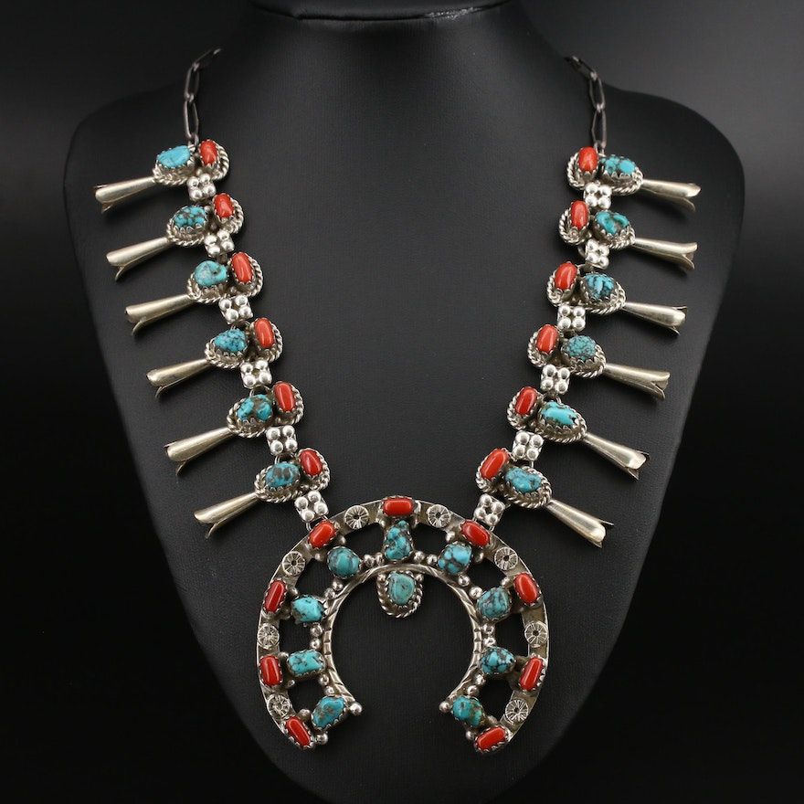 Southwestern Style Signed Squash Blossom Naja Coral and Turquoise Necklace