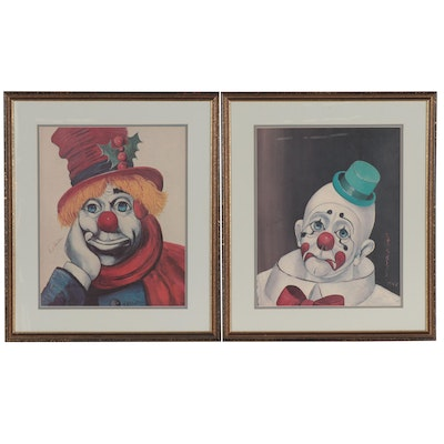 Red Skelton Offset Lithographs of Clowns, Late 20th Century