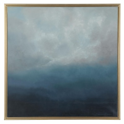 "Sarah Brown Oil Painting ""Distant Atmosphere,"" 21st Century"