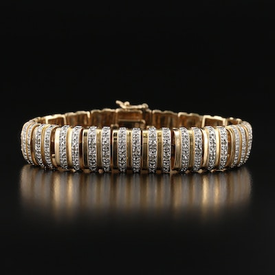 Sterling Two-Tone Diamond Bracelet