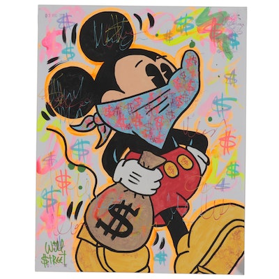 Will $treet Mixed Media Painting of Mickey Mouse, 2020