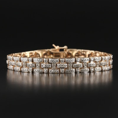 Sterling Diamond Basket Weave Bracelet