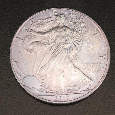 Toned 2010 $1 American Silver Eagle Bullion Coin