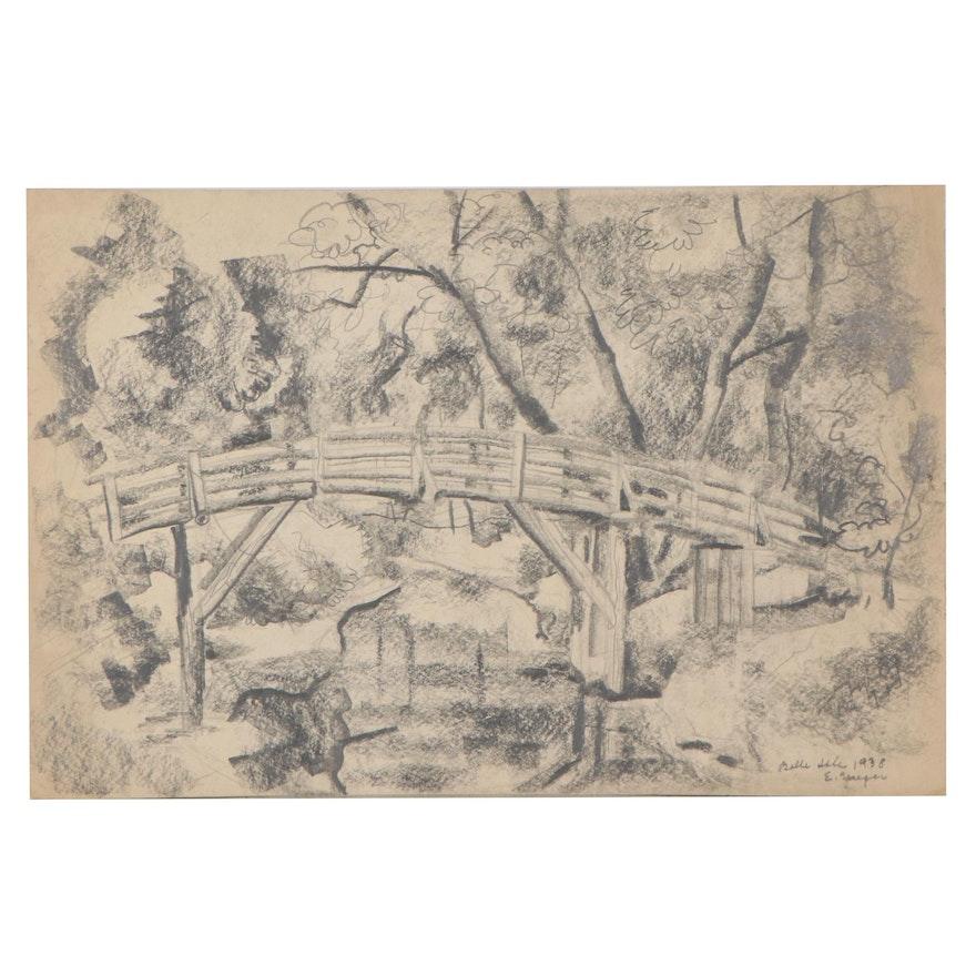 "Edgar Yaeger Graphite Drawing ""Belle Isle,"" 1938"
