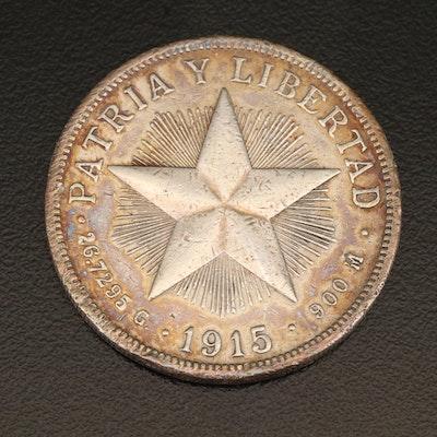 1915 Republic of Cuba Silver 1 Peso