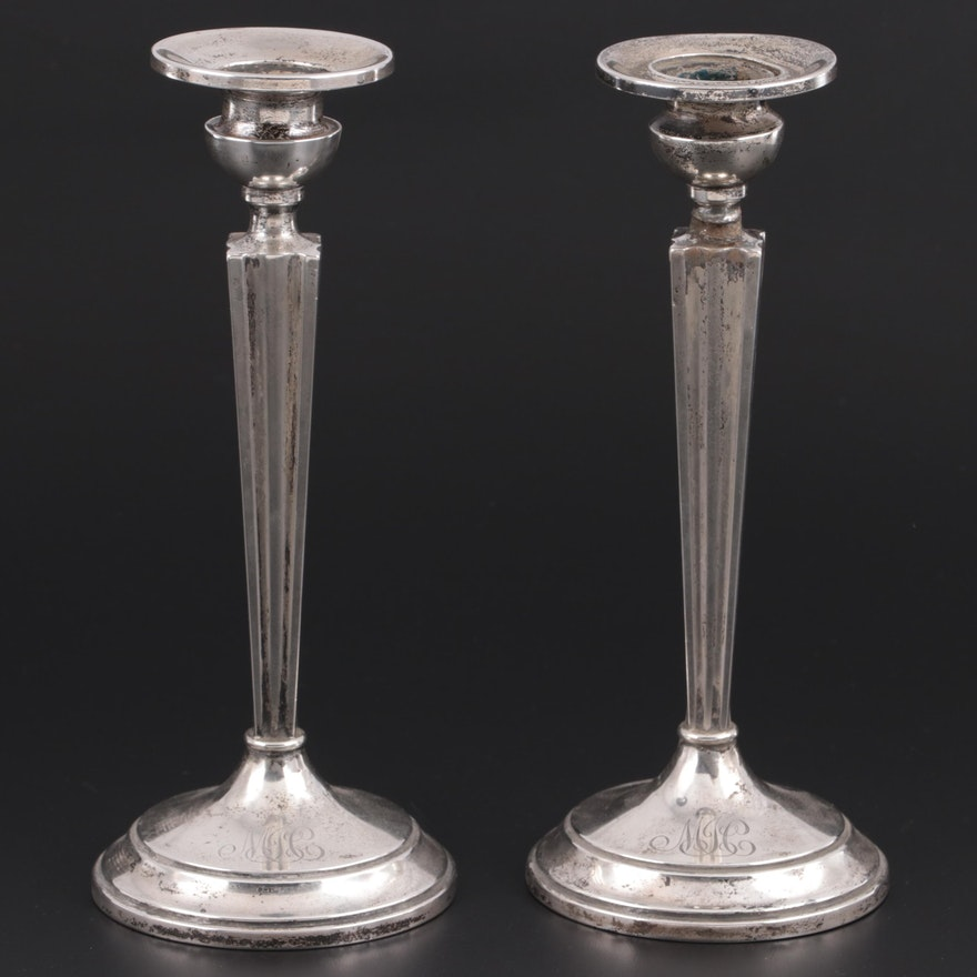 William R. Elfers Co. Art Deco Weighted Sterling Silver Candlesticks, 1930s