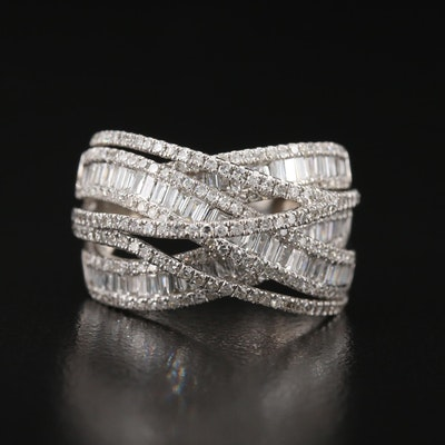 14K 2.00 CTW Diamond Criss-Cross Ring
